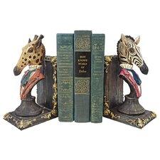 Serengeti Soiree Giraffe and Zebra Book Ends (Set of 2)