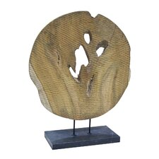 Round Wood Art Figurine