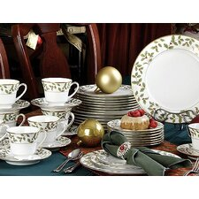 Holly and Berry Gold 40 Piece Dinnerware Set, Service for 8