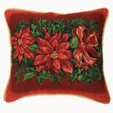 Seasonal Poinsettia Design Pillow Cover