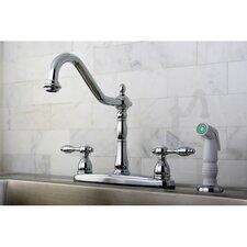 Tudor Double Handle Centerset Kitchen Faucet with Spray
