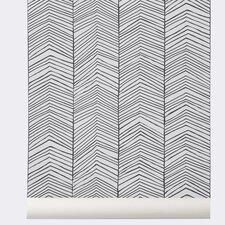 "Ferm Living  32.97' x 20.87"" WallSmart Hand Printed Chevron Wallpaper Roll"