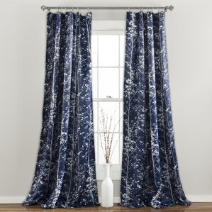 Bartle Nature/Floral Semi Sheer Thermal Pinch Pleat Curtain Panels