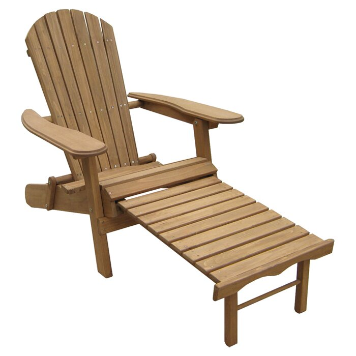 default_name - Atlantic Outdoor Foldable Adirondack Chair With Pull Out Ottoman