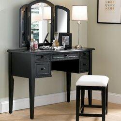 Powell Antique Black Vanity Set with Mirror Reviews Wayfair