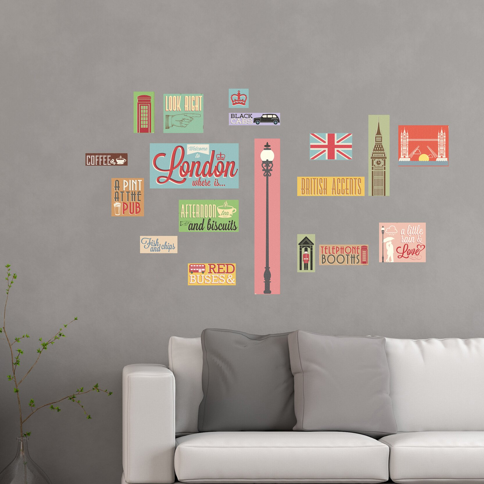 Wallpops home decor line london icons wall decal for Home decorations london