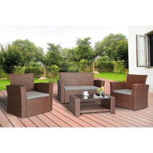 Reordan 4 Pieces Outdoor Furniture Complete Patio Cushion Wicker Rattan  Garden Sofa Setl