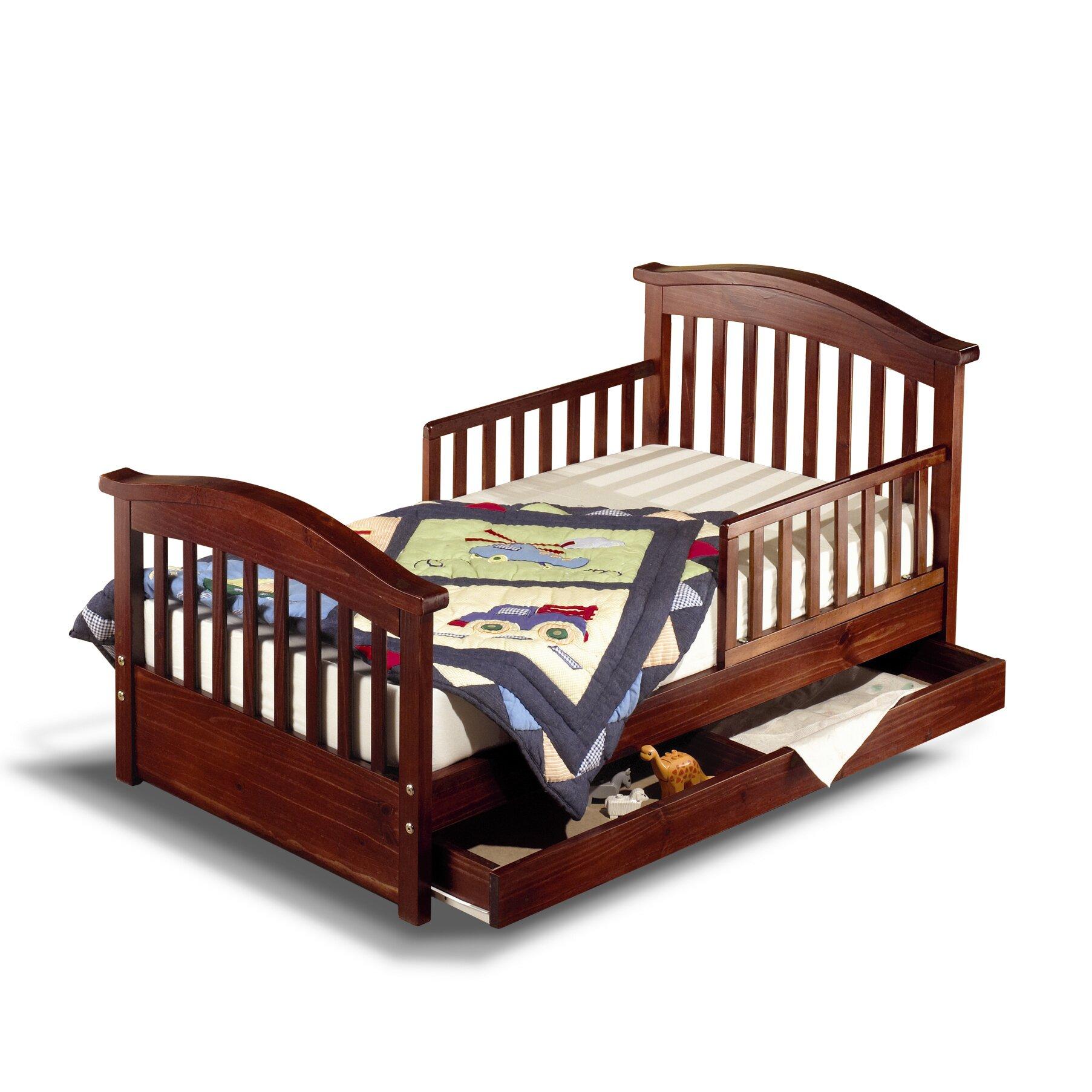 sorelle joel pine toddler bed with storage reviews wayfair. Black Bedroom Furniture Sets. Home Design Ideas