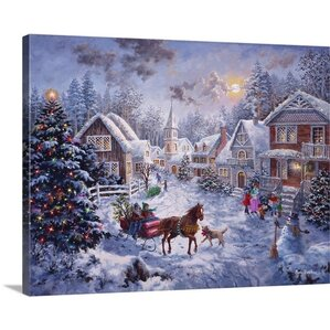 Christmas Art U0027Merry Christmasu0027 By Nicky Boehme Painting Print On Wrapped  Canvas