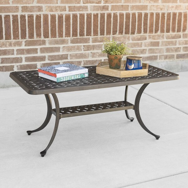 Walker Edison Cast Aluminum Wicker Style Patio Coffee Table | Wayfair