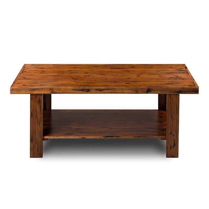 Loon Peak Manteca Solid Wood Coffee Table With Magazine Rack