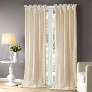 Amazing Rivau Solid Semi Sheer Tab Top Single Curtain Panel