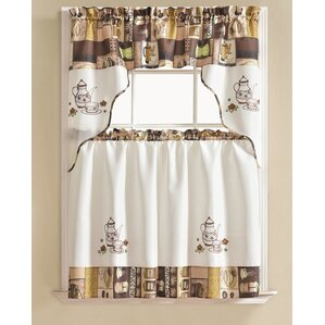 Werner Coffee 3 Piece Kitchen Curtain Set