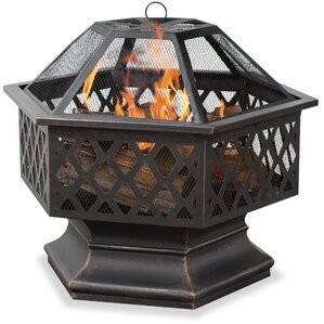 Bronze Outdoor Wood Burning Fire Pit With Lattice  Portable Outdoor Fireplace