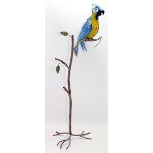 Metal Parrot on Branch Garden Statue