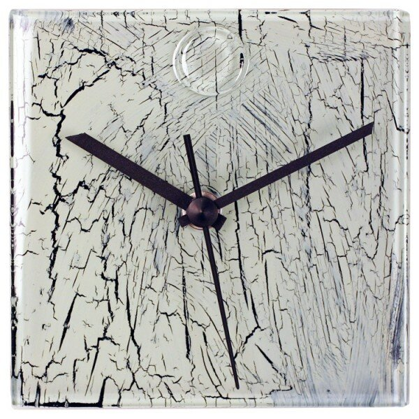 Wade Logan Square Glass Wall Clock with Crackle Effect Reviews