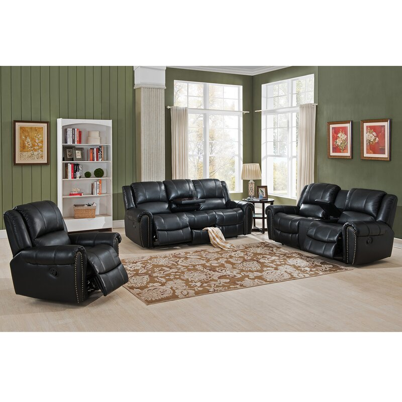 amax houston 3 piece leather recliner living room set | wayfair