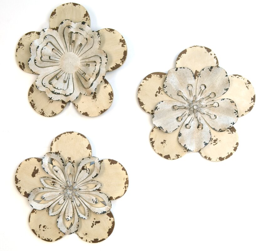 default name. Stratton Home Decor 3 Piece Rustic Flowers Wall D cor Set
