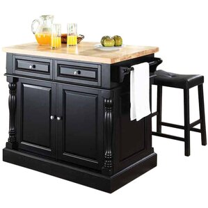 Lewistown 3 Piece Kitchen Island Set With Butcher Block Top