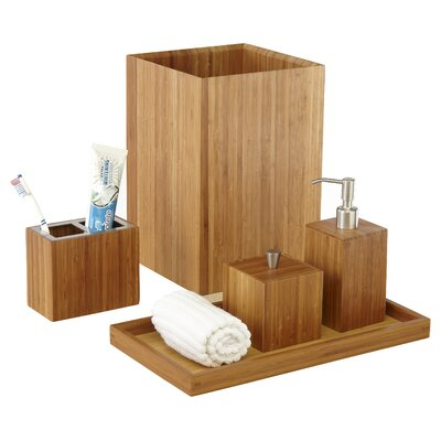 Defoe Bamboo 5 Piece Bathroom Accessory Set
