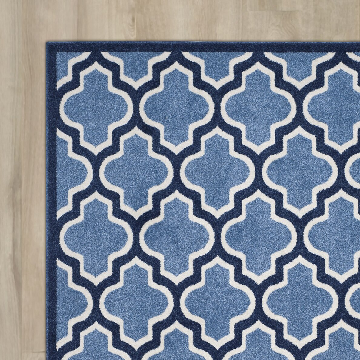 Amherst Light Blue Navy Indoor Outdoor Area Rug & Reviews