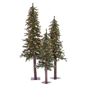 Cheap Natural Alpine Green Artificial Christmas Tree With Clear Lights U  Stand With Mini Pre Lit Christmas Tree