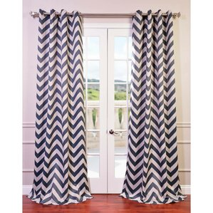 Angel Chevron Grommet Blackout Thermal Rod Pocket Single Curtain Panel
