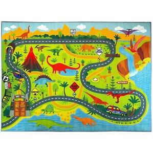 Weranna Dinosaur Dino Safari Road Map Educational Learning Green/Blue  Indoor/Outdoor Area Rug