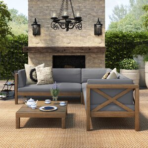 Lejeune 4 Piece Outdoor Seating Group With Cushion