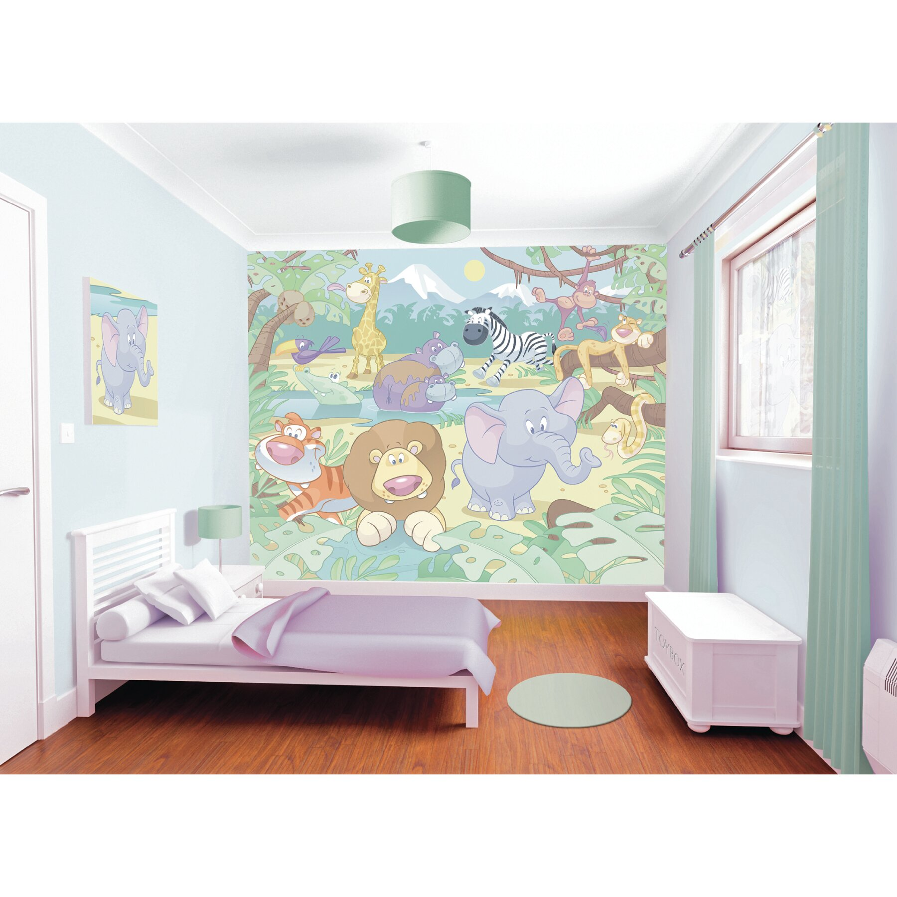 Wallpops walltastic wall art baby jungle safari wall for Baby jungle safari wall mural