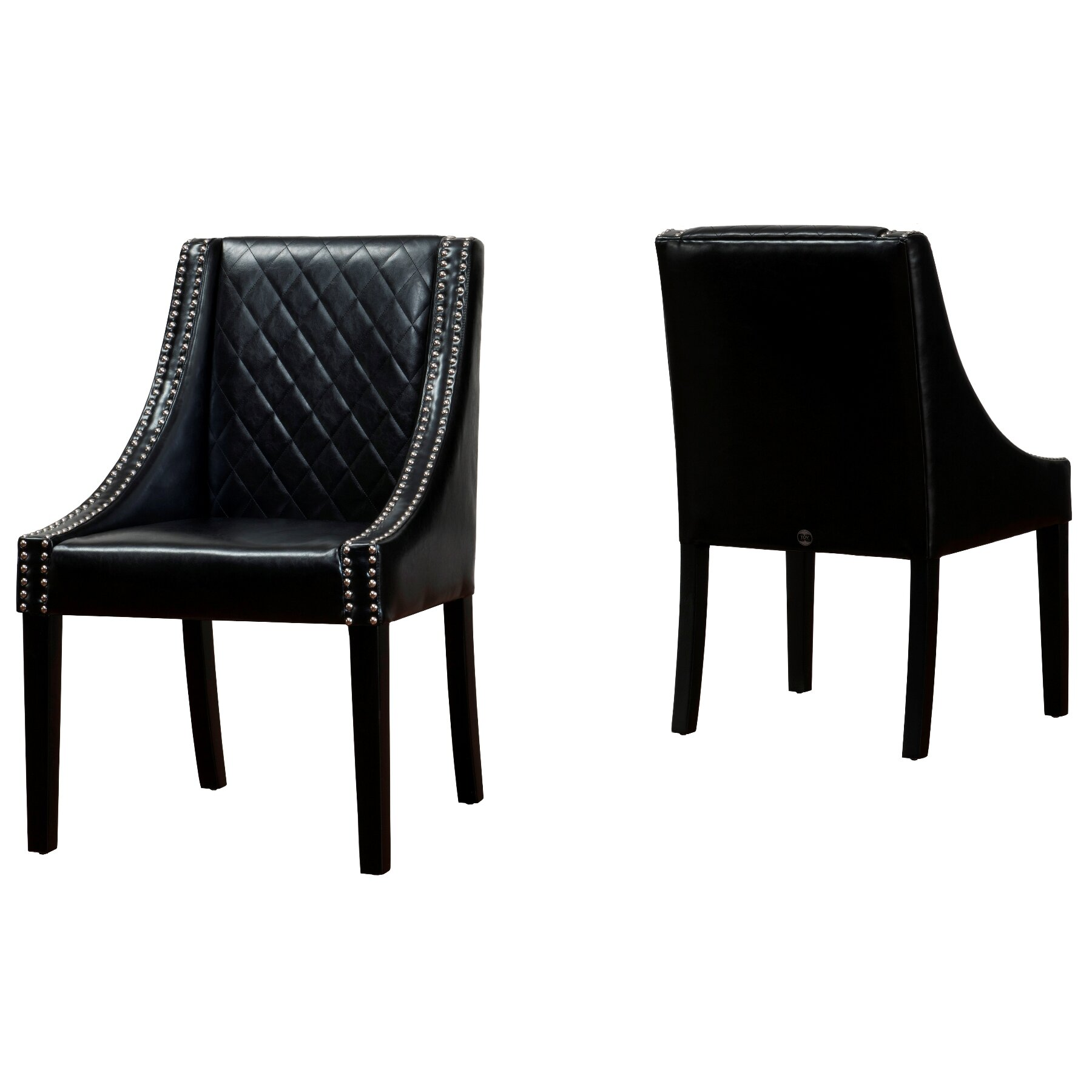 Black upholstered dining chairs - Lenox Genuine Leather Upholstered Dining Chair