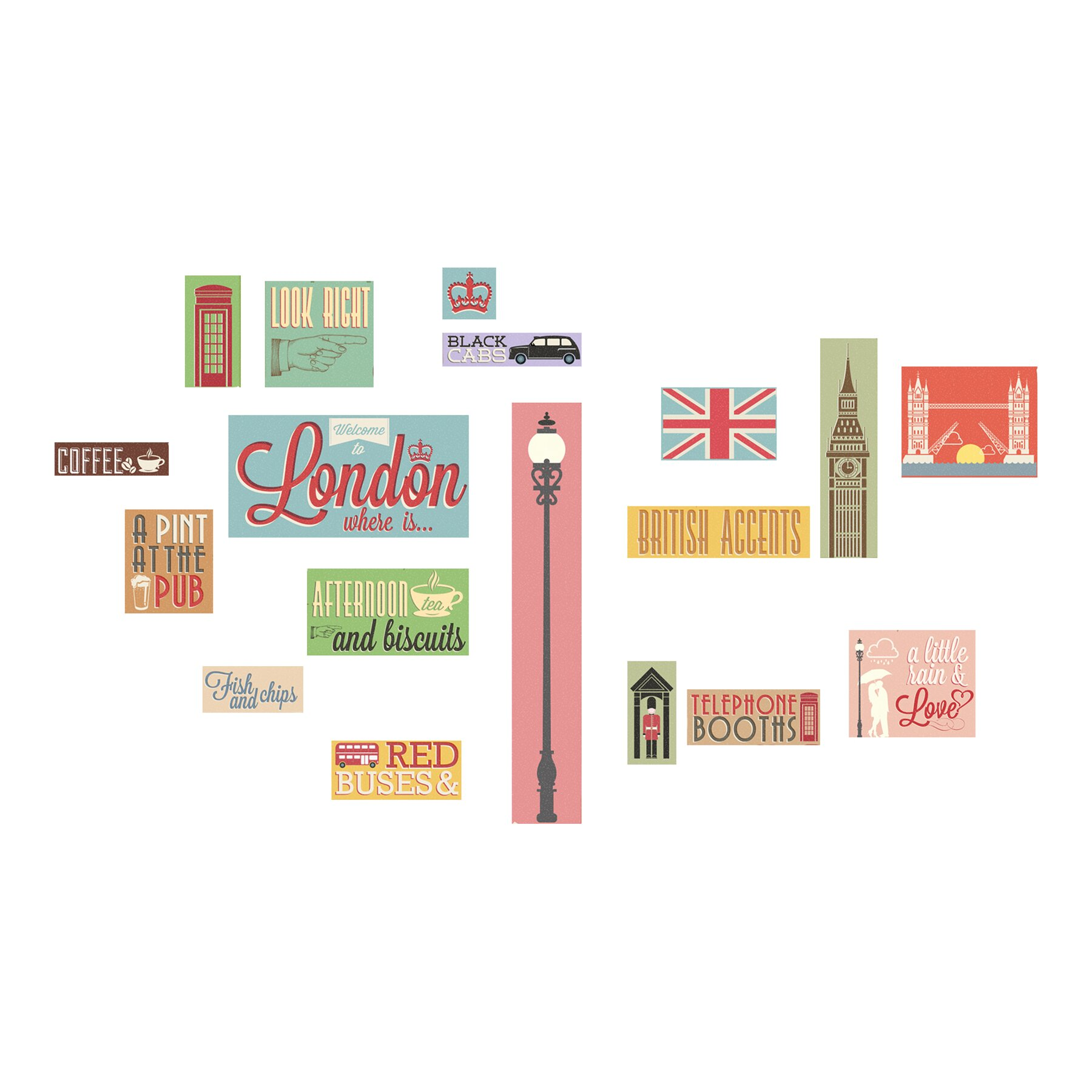 Wallpops home decor line london icons wall decal for Home accessories london