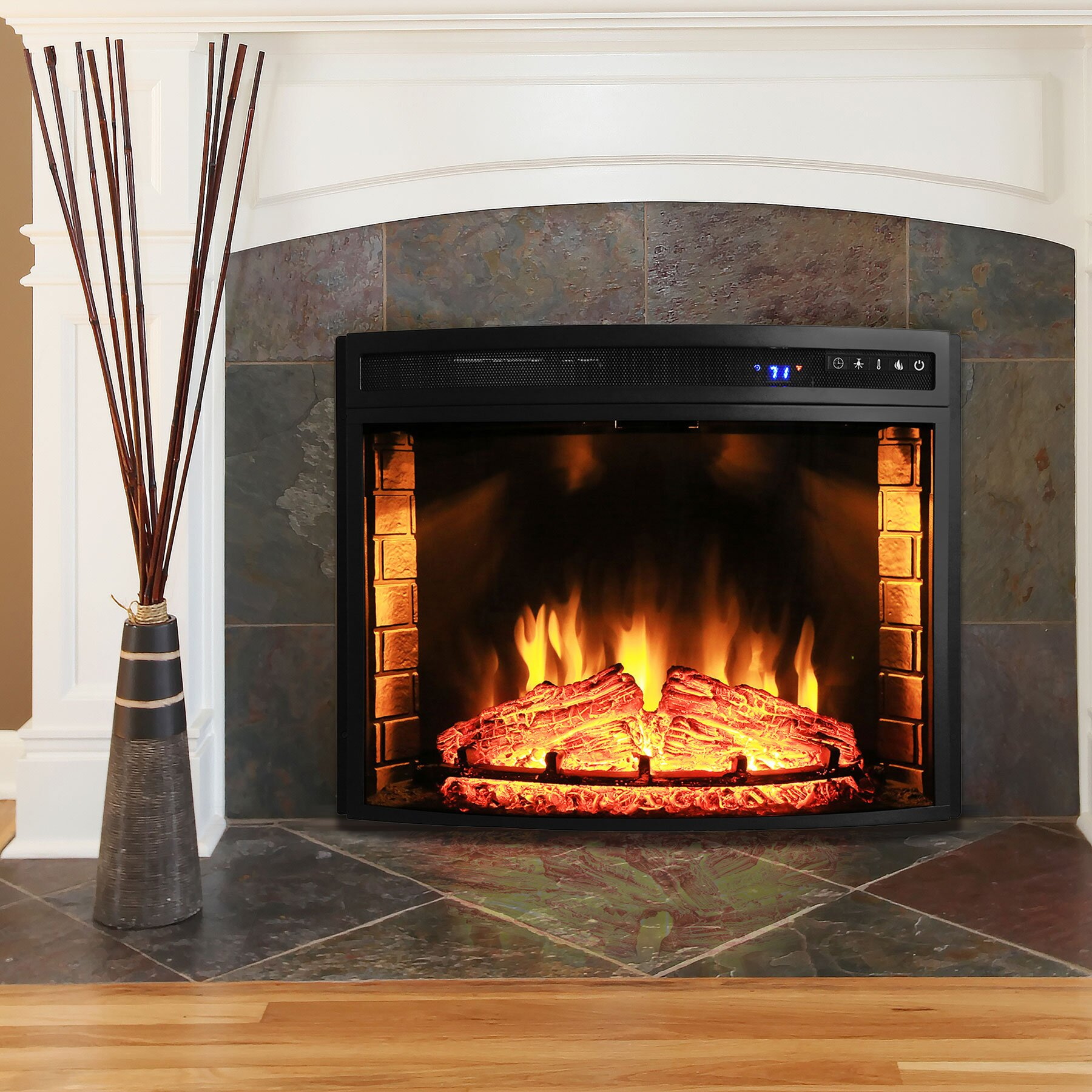 Akdy curved wall mount electric fireplace insert reviews for Curved wall