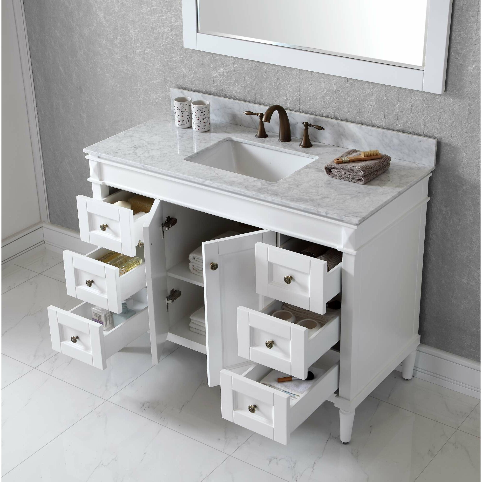 white bathroom vanity with marble top virtu usa 48 quot single bathroom vanity set with 25882