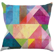 Color Blocking Rainbow Abstract Outdoor Throw Pillow