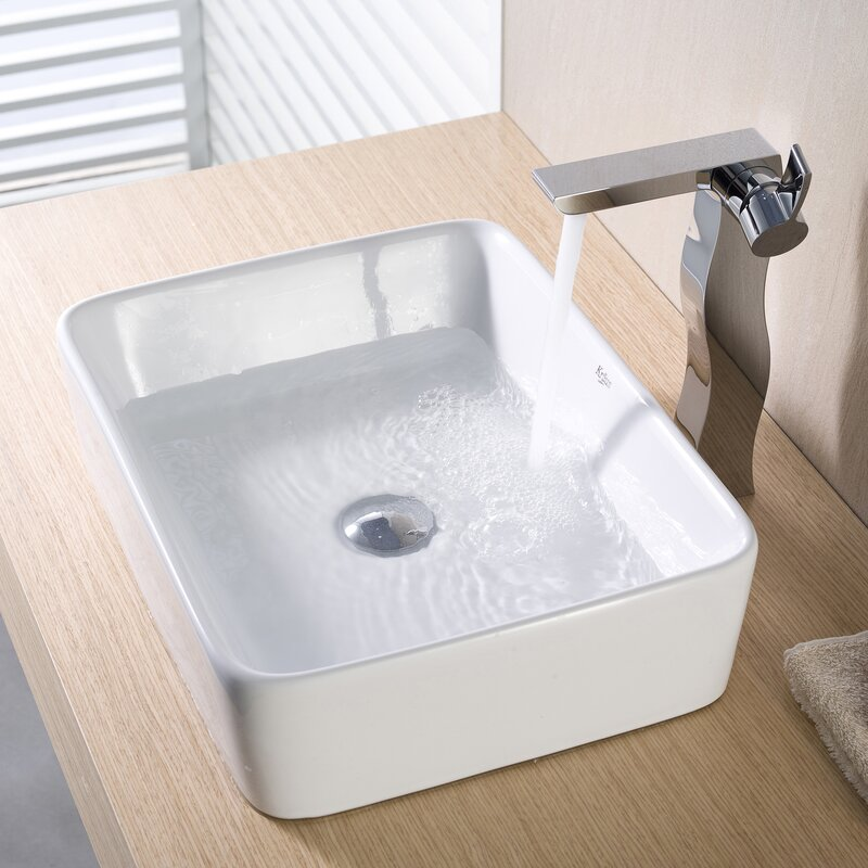 Bathroom Counter And Sink Combo: Kraus Ceramic Rectangular Vessel Bathroom Sink & Reviews