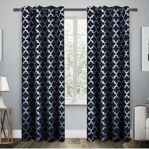 Stanton Geometric Semi Opaque Grommet Curtain Panels (Set Of 2)