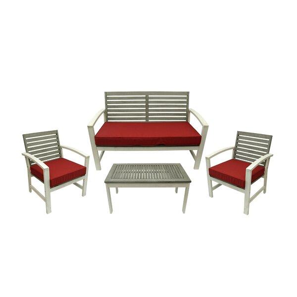 Northlight 4 Piece Acacia Wood Outdoor Furniture Set | Wayfair