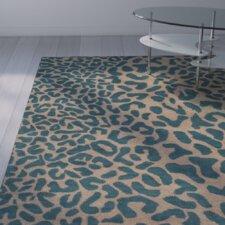 Lagunas Teal Animal Print Area Rug