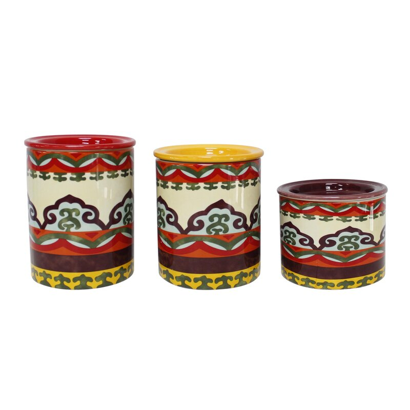 Euro ceramica galicia 3 piece kitchen canister set for Hearth and home designs canister set
