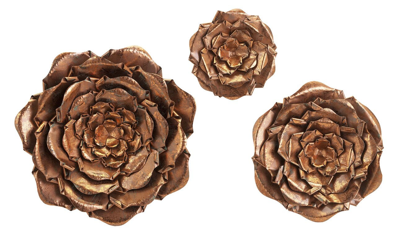 Metal Flowers Wall Decor imax 3 piece blayney metal flower wall décor set & reviews | wayfair