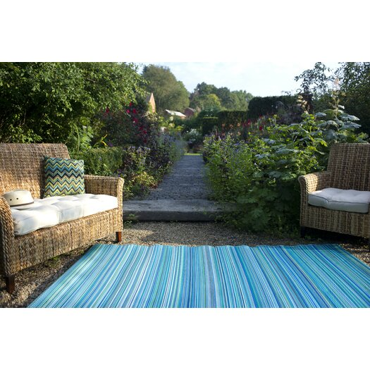Trina Indoor Outdoor Rug Brown Turquoise: Fab Habitat World Turquoise/Moss Green Cancun Stripe