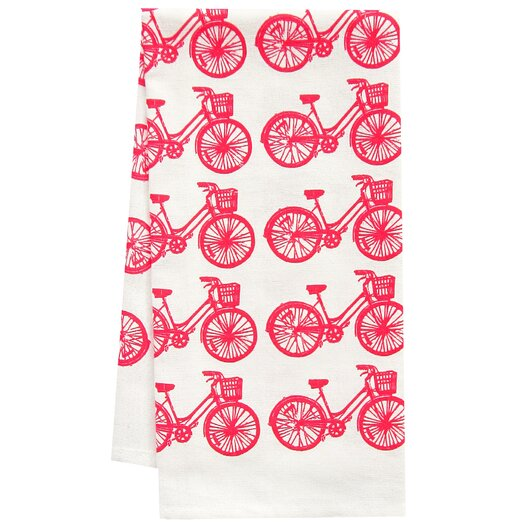 Artgoodies Organic Bike All Over Pattern Block Print Tea Towel