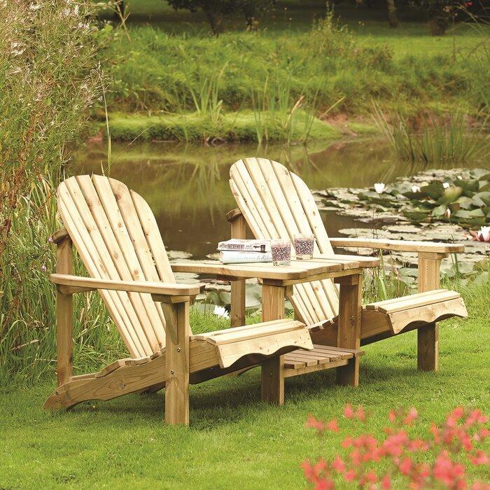Nice Lynton Garden Buckeye 2 Seater Wooden Love Seat Reviews Wayfaircouk