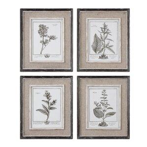 4 piece casual gray framed print set