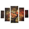 Alcott Hill® Japanese 5 Piece Photographic Print on Wrapped Canvas Set in Brown/Orange