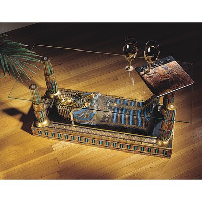 Design Toscano Egyptian Luxor Sculptural Glass Topped Coffee Table Reviews Wayfair