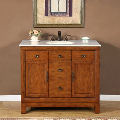 "Silkroad Exclusive Frances 42"" Single Bathroom Vanity Set ..."