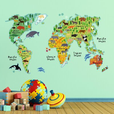 WallPops Home Decor Line Kids World Map Wall Decal Reviews - World map for home