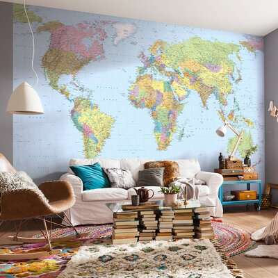 Komar world map 12 08 x 98 wall mural reviews wayfair